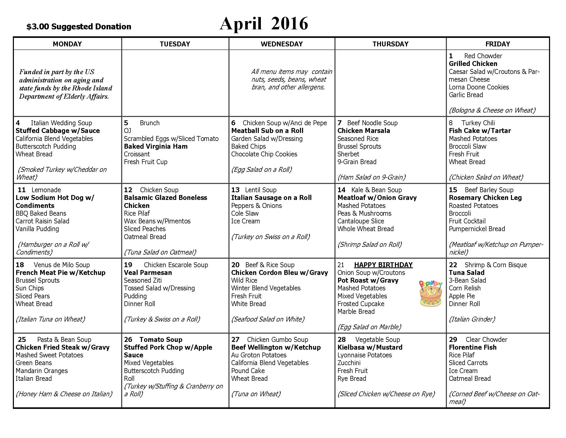 April 2016 Lunch Menu Calendar | Edward King House